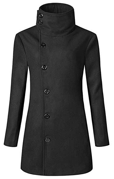 SYTX Mens Winter Jacket Single Breasted Slim Fit Pea Coat Trench ...