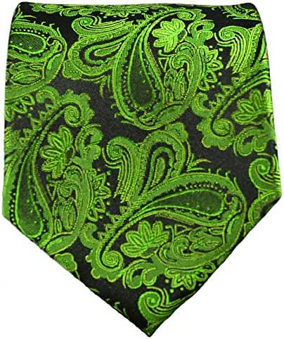 Silk Necktie . Green Paisleys