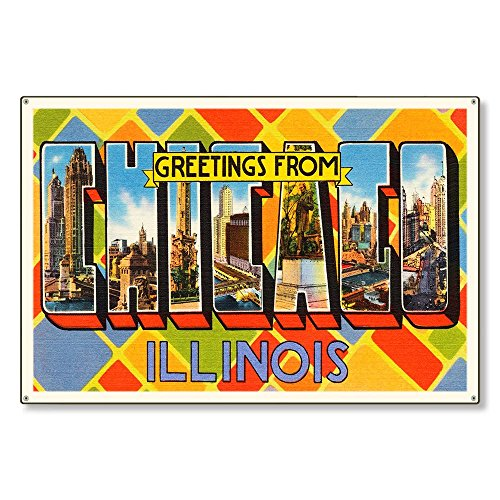 Chicago Illinois il Old Retro Vintage Large Letter Travel Postcard Reproduction Metal Sign Art Wall Decor Steel Sign Tin Sign 12x18 inch.