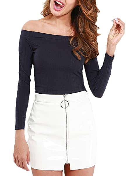 Mujer Crop Top Moda Cuello Barco Camisetas de Manga Larga Blusas Slim Colores Lisos Rayas Corto Blouses T Shirt: Amazon.es: Ropa y accesorios
