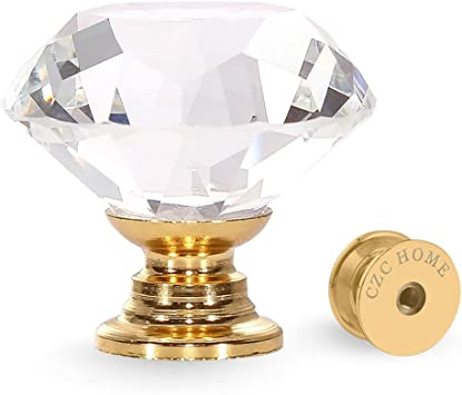 10x clear glass diamond crystal cupboard cabinet knob handle drawer door pull 1