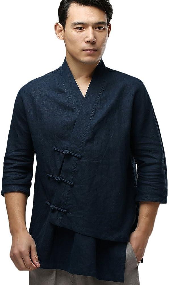 LZJN Men's Cotton Linen Asymmetric Shirt Casual Tang Suit Top Blouse Chinese Style