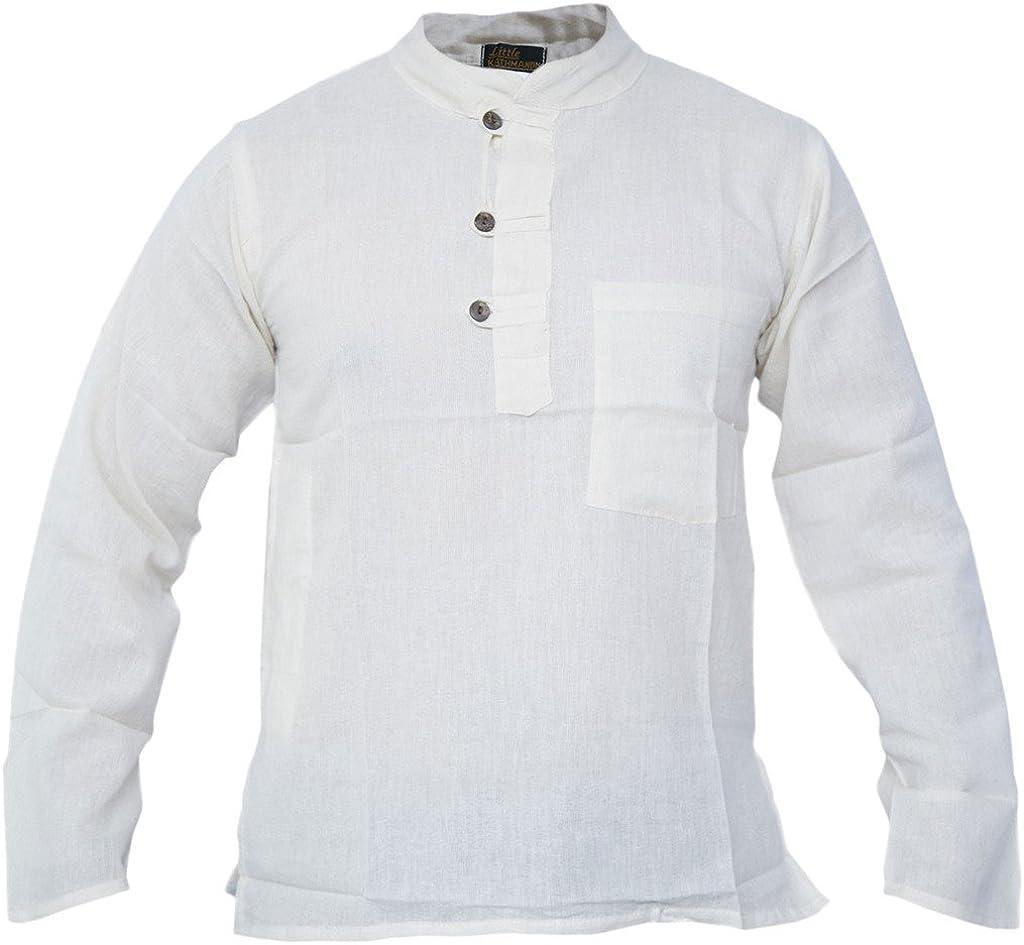 Gheri Mens Plain Grandad Collarless Cotton Light Festival Summer Shirts Tops Kurtas