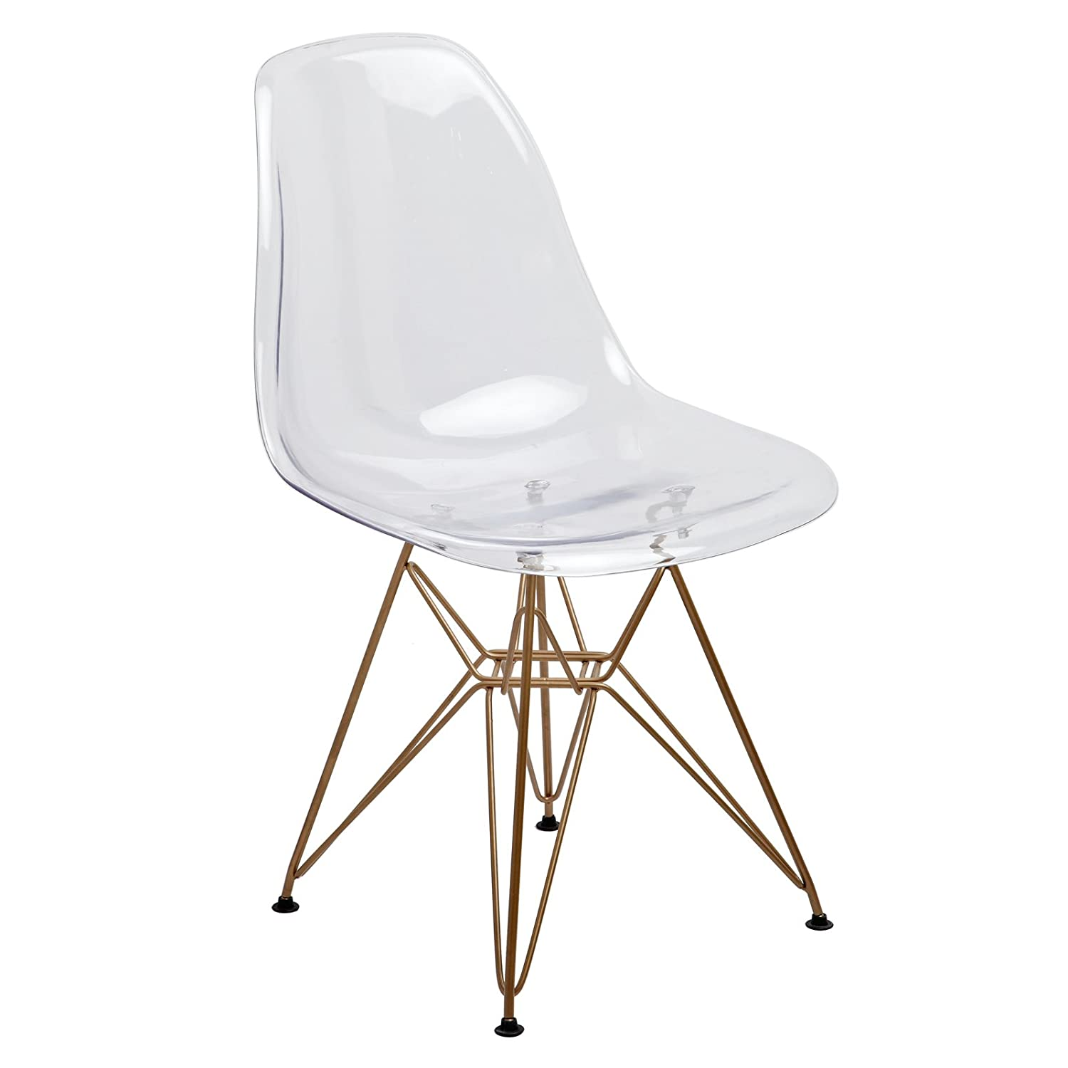 Amazon Design Guild Banks Clear Chair with Gold Legs Kitchen