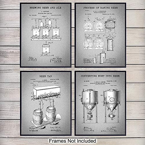 Brew Beer Art Print - Beer Brewing Patent Art Prints - Vintage Wall Art Poster Set - Chic Modern Home Decor for Den, Kitchen, Man Cave, Office - Great Gift for Men, Home Brewing,Brew, Brewer Fans - 8x10 Photo - Unframed