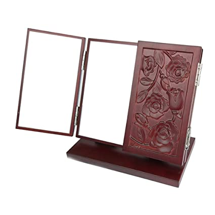 Lovehouse Trifold Vanity Makeup Mirror,Retro Wooden Carved Table Mirrors  With Stand Portable Folding Cosmetic