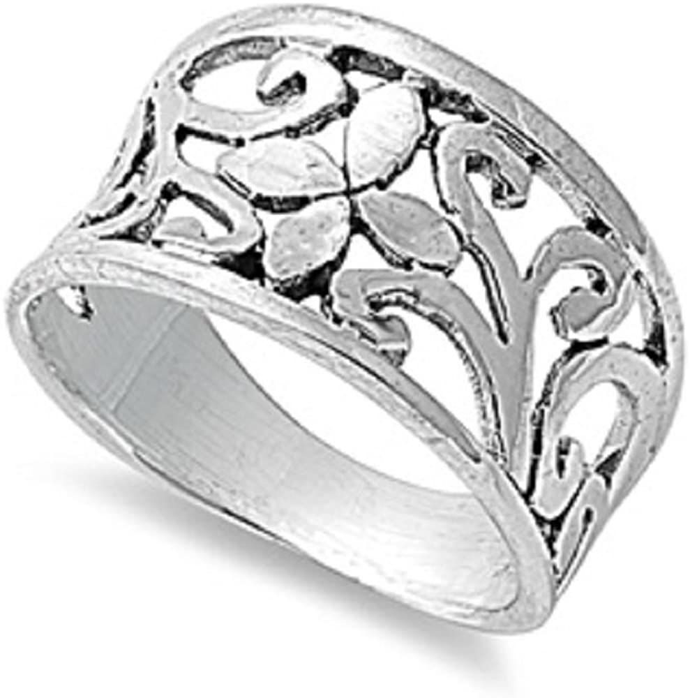 Princess Kylie 925 Sterling Silver Petals Innovation Filigree Ring