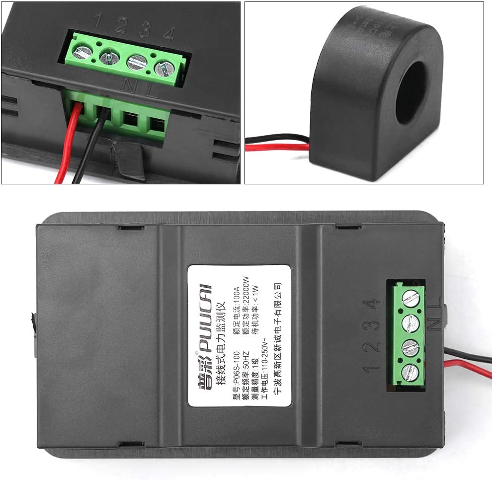 6 in 1 elektrisches Digital LCD Multifunktionsmessger/ät Spannung 110-250 V Strom 100A Power Monitor Panel Monitor mit Gegenseitiger Induktivit/ät