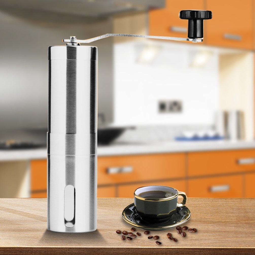 Xiton Molinillo de café manual, de acero inoxidable para moler más fácil, con borde de corte portátil, de cerámica cónica para una elaboración precisa: ...