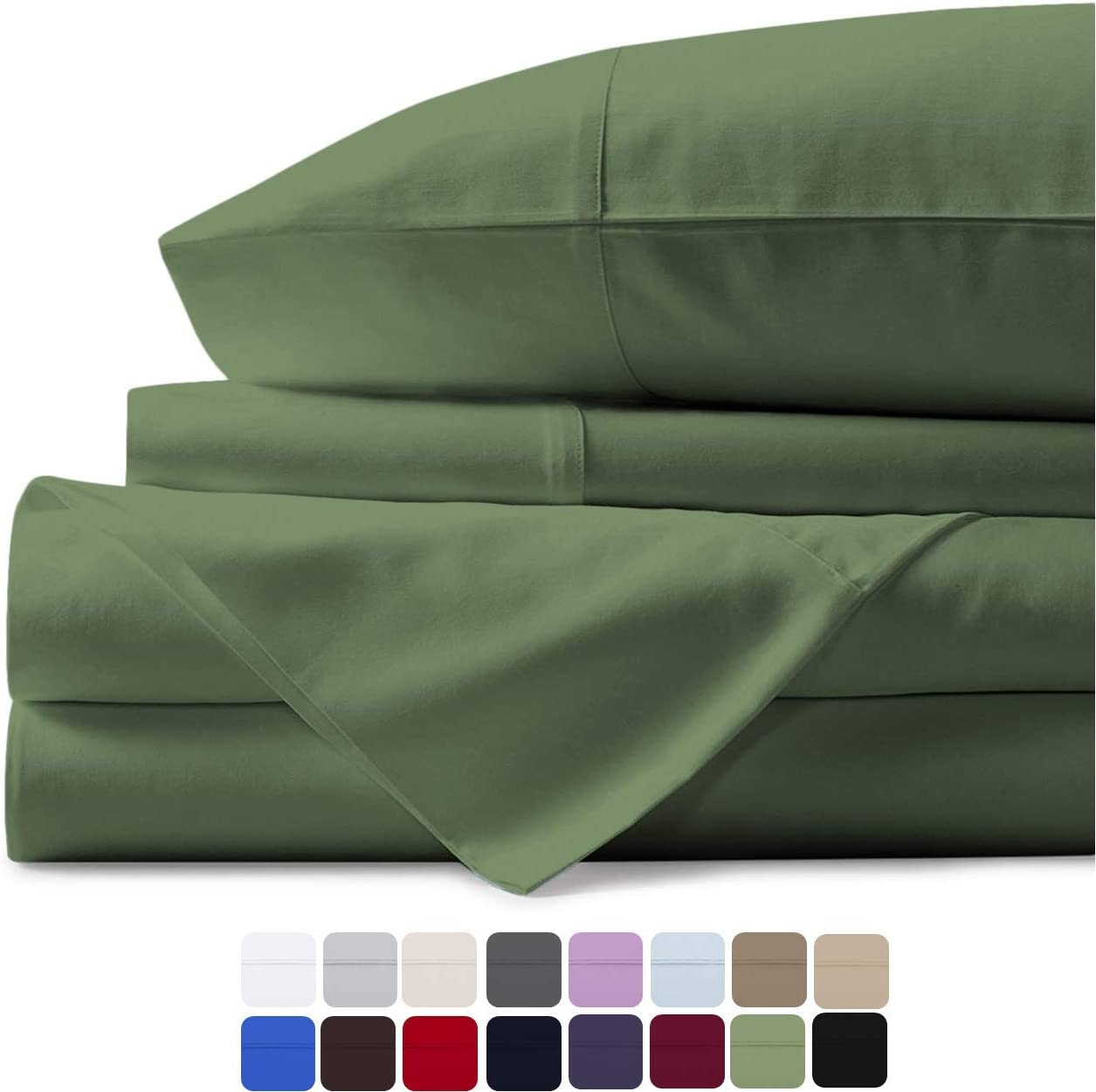 500 Thread Count 100% Cotton Sheet Sage Green Twin XL Sheet Set,3-Piece Long-staple Combed Sheets,Breathable,Soft & Silky Sateen Weave Fits Mattress Upto 18'' Deep Pocket – 1 BONUS PILLOWCASE