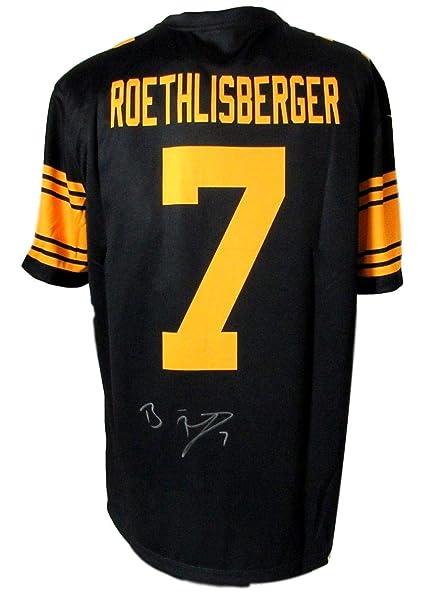 size 40 be158 01448 Ben Roethlisberger Signed Steelers Black Nike Color Rush ...