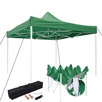 LeeMas Inc co 10'x10' Green Waterproof Ez Pop Up Canopy Tent UV & Wear Resistant Heavy Duty Easy Shelter Beach Commercial for Wedding Party Craft Shows Sporting Events : Garden & Outdoor