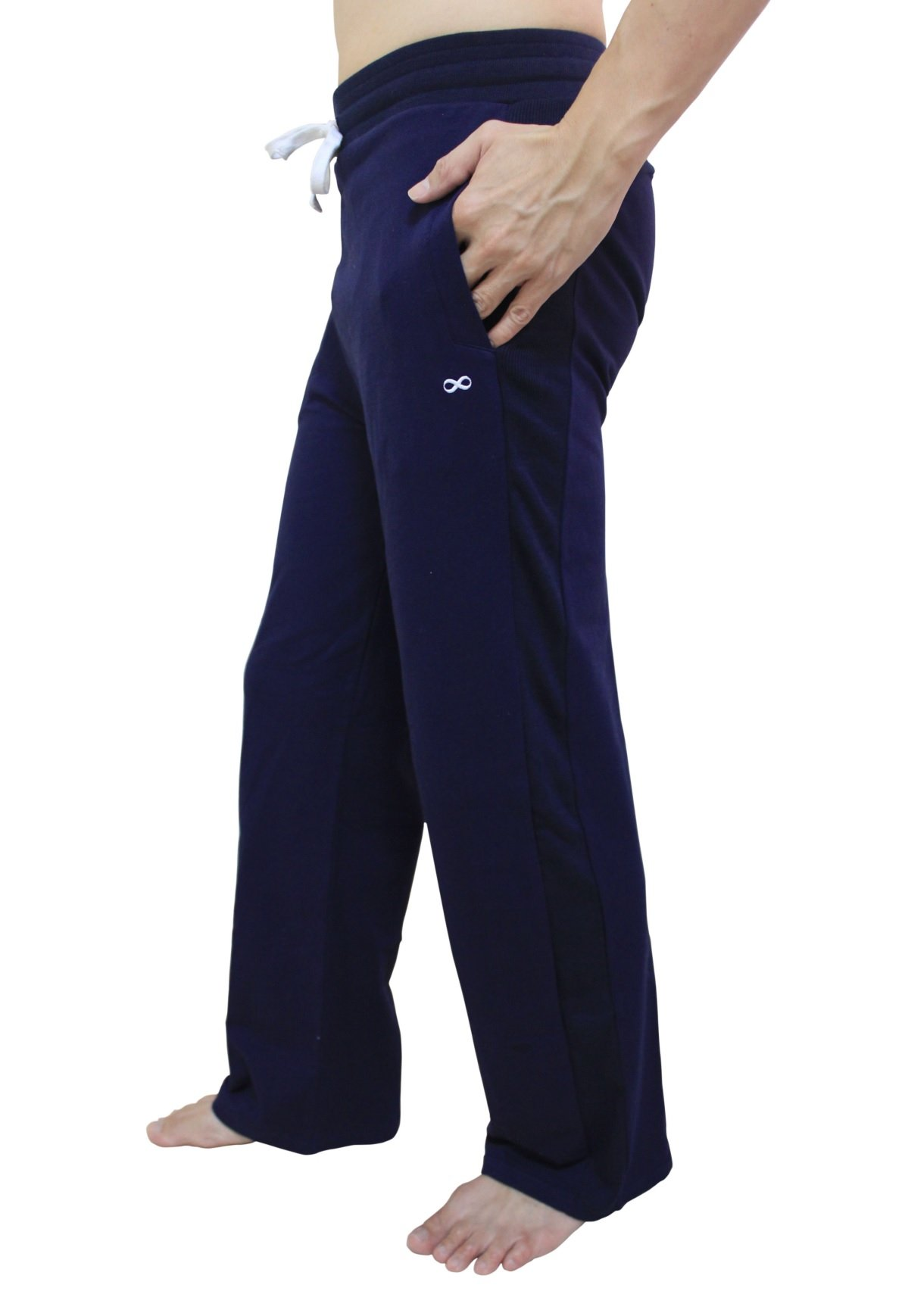YogaAddict Men Yoga Long Pants, Pilates, Fitness, Workout, Casual, Lounge, Sleep, Martial Arts Pants (Sale Price), Navy Blue - Size L by YogaAddict