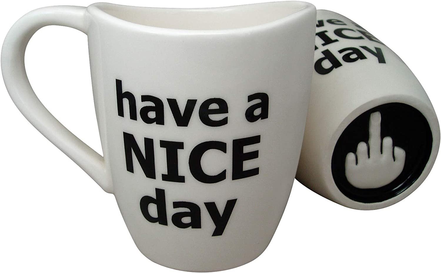Amazon Com Have A Nice Day Coffee Mug Funny Cup With Middle Finger On The Bottom 14 Oz By Decodyne Kitchen Dining