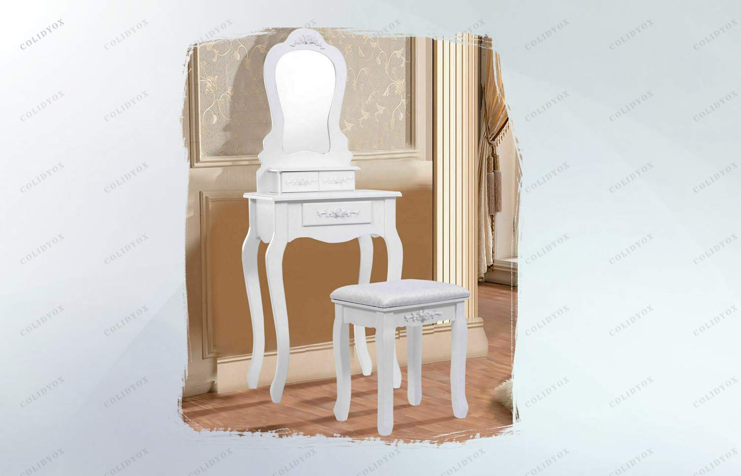 COLIDYOX___Glamorous Dressing Table,Vanity Table Set Comes with Mirror, Stool and 3 Storage Drawers,Storage Capacity is Great for Storing Jewelry,Tabletop Provides Space for Cosmetics