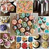 Russian Piping Tips - 39 Piece Cake Baking Supplies - Decorating Set - 23 Icing Nozzles - 15 Pastry Disposable Bags & Coupler - Extra Large Decoration Kit - Best Kitchen Gift