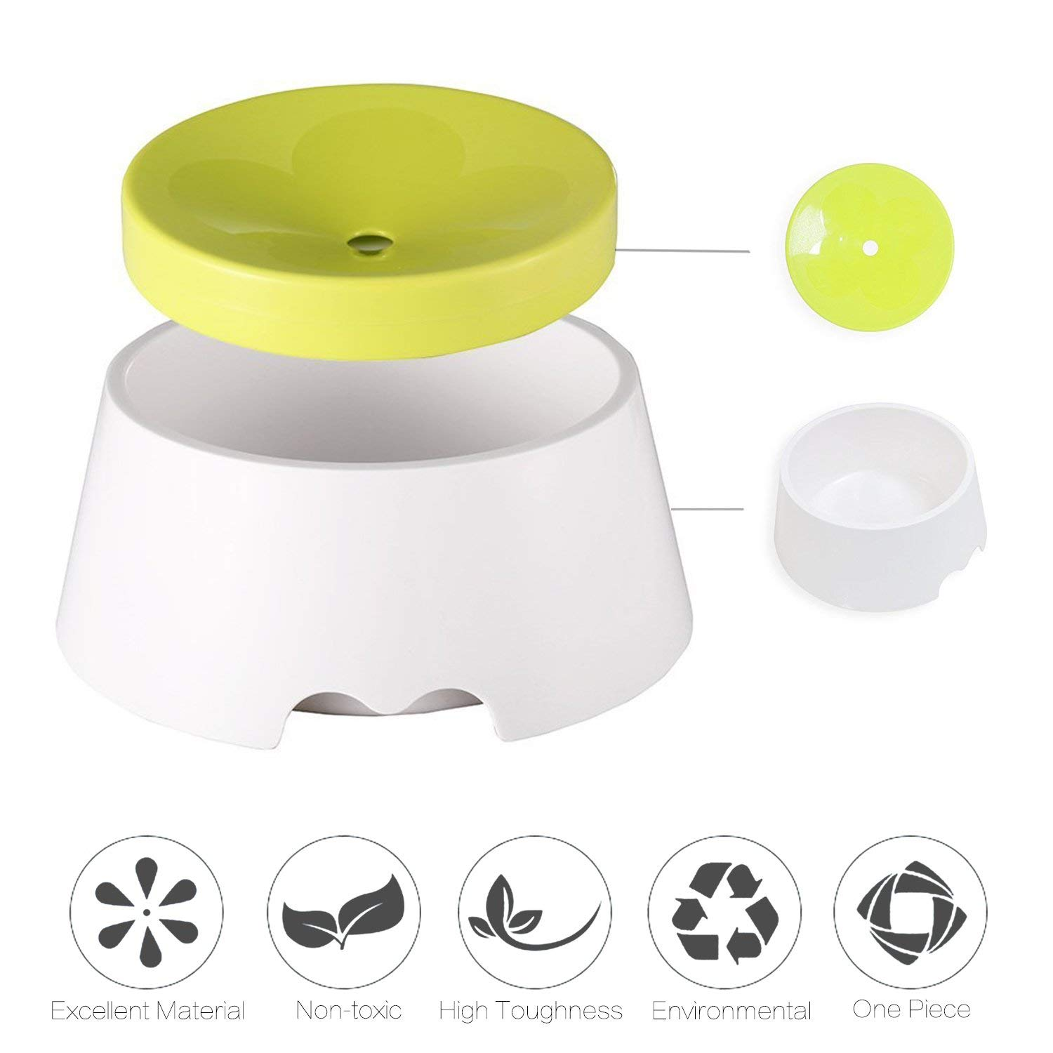 Dog Water Bowl Anti-Choking Anti-Overflow Non Spill Dispenser for Pet Cat Drinking Fountain Floating Anti-dust ABS PP Bowl-Keep Water Clean