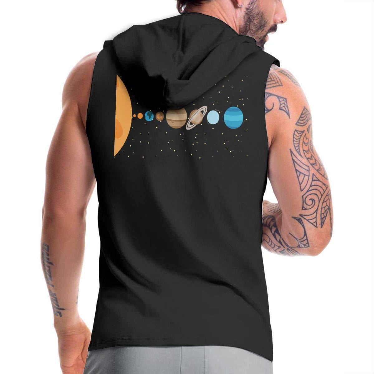 BMWEITIHBQ Mens Sleeveless Sweatshirt Solar System Galaxy Zipper Tank Tops