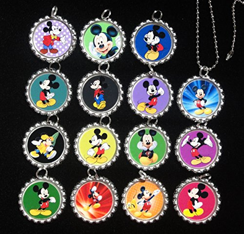 15 Mickey Mouse Flat Bottle Cap Necklaces