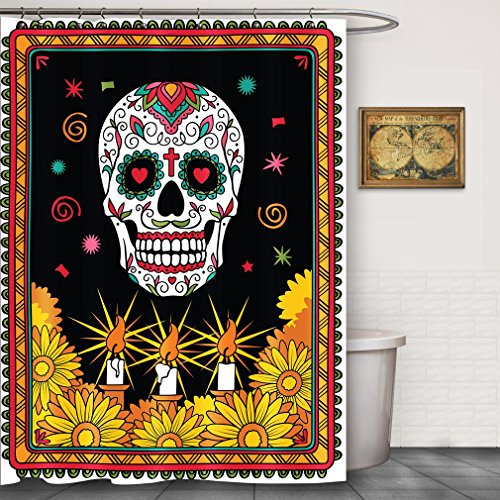 FOOG Mexican Sugar Skull Shower Curtain Candle Flowers Day of the Dead Bathroom Decorative Fabric Shower Curtain Sets with Hooks Yellow Red (70