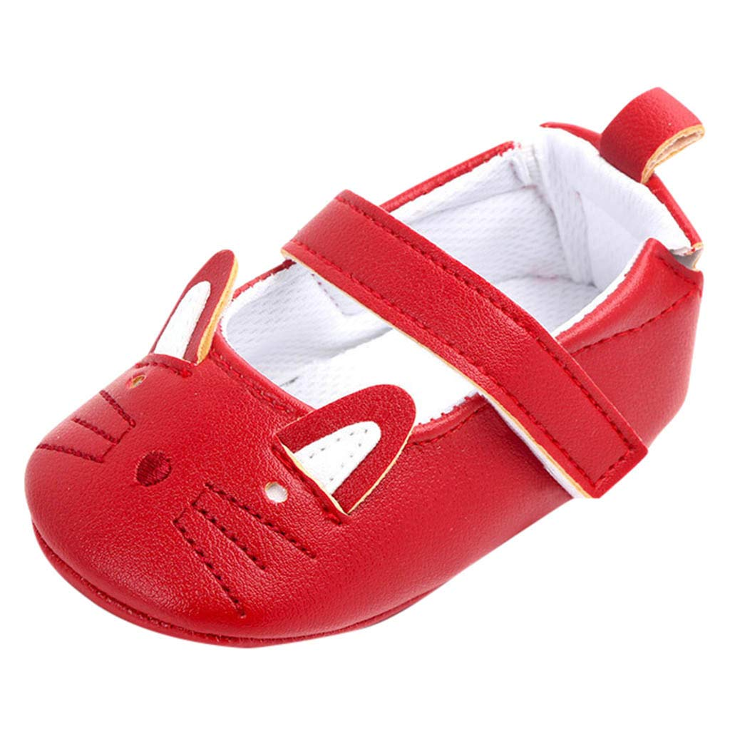 Little Kids Soft Sole Mary Jane First Walkers Boots for Toddler Newborn Baby Girls Cartoon Cat Anti-Slip Crib Shoes