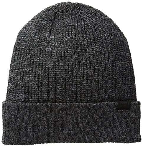 Levi's Men's Waffle Beanie with 2X1 Rib Cuff and Fleece Lining, Charcoal, One Size -