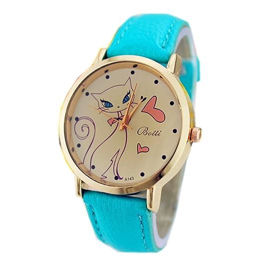Reloj Cat, reloj mujeres Faux pulsera cuero pulsera, Azul: Amazon.es: Relojes