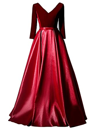 Mulanbridal Velvet Prom Dresses Long Evening Gowns 2018 V Neck Wedding Party Bridesmaid Dress Burgundy 2