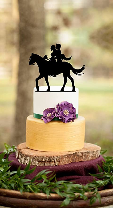 Amazon.com: Wedding Cake Toppers Bride and Groom on Horse ,Couple ...
