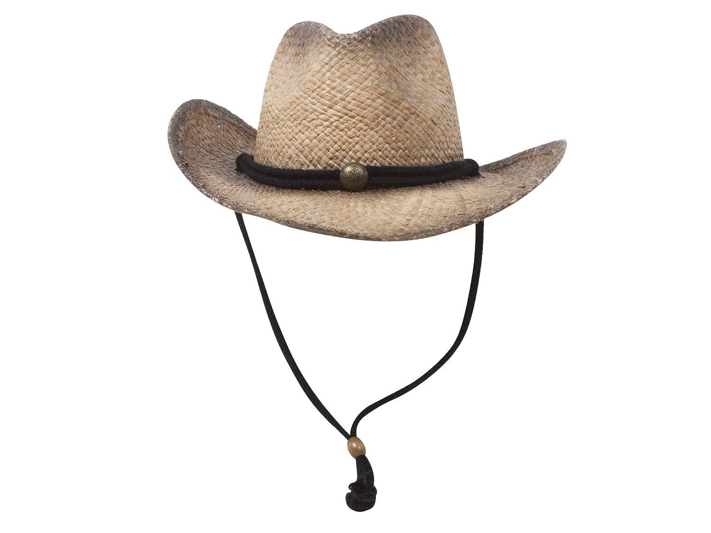 MG Tea Stained Raffia Straw Cowboy Hat TN-1203912