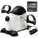 DECELI Under Desk Bike Pedal Exerciser - Portable Mini Exercise Bike for Arm/Leg Exercise, Mini Exercise Peddler with LCD Dis