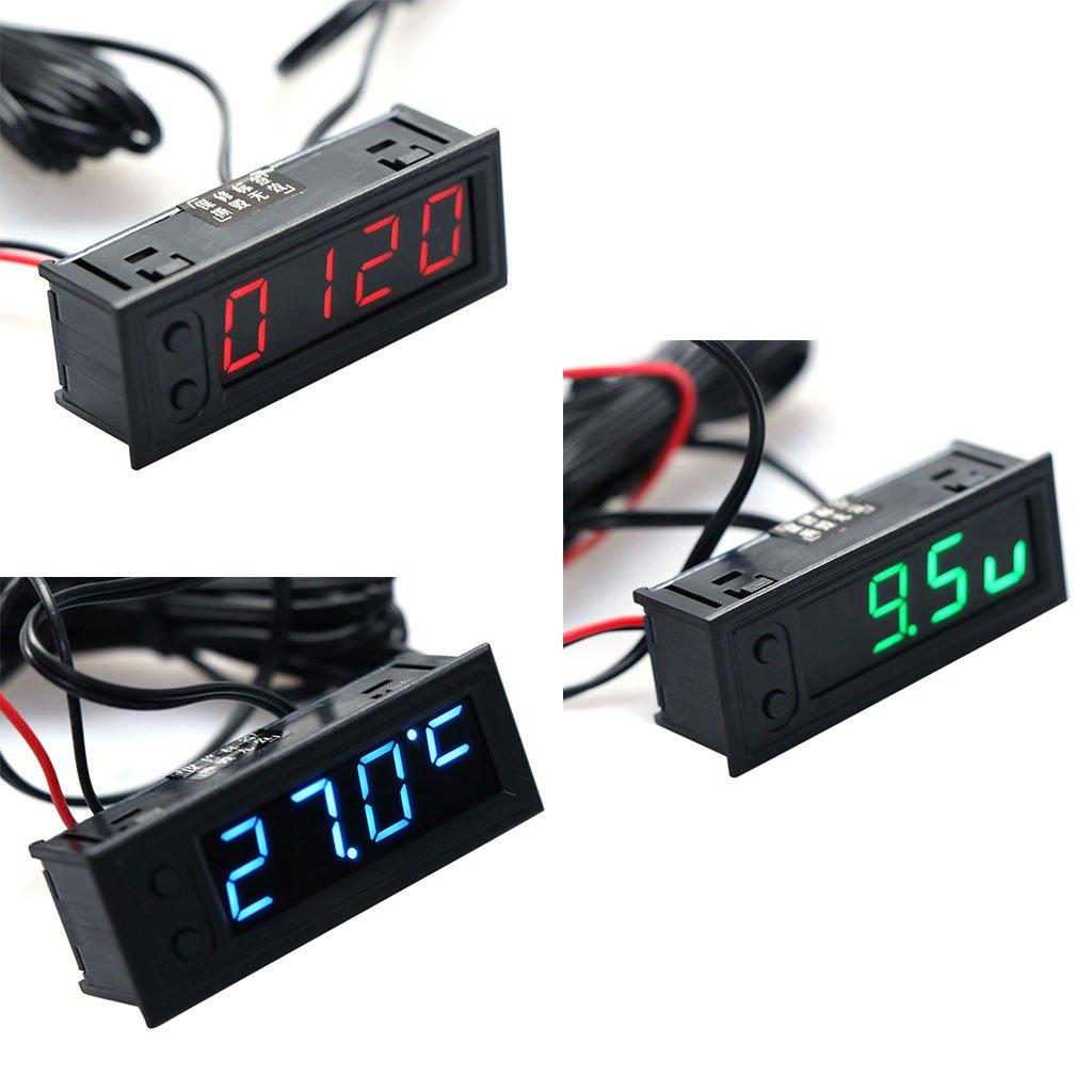 Miuson DIY orologio multifunzione auto temperatura Tensione della batteria monitor voltmetro DC 12/V frame size 22 58 mm Blue