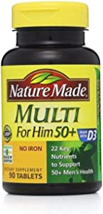 Nature Made Multi for Him 50+ Dietary Supplement Tablets 90 ea (Pack of 4)