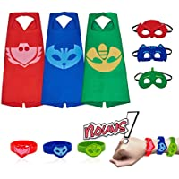 Mizzuco Costume Superhero Cape, Mask & Wrist Band Dress Up for Kids Boys & Girls 3-12 Years (Red&Blue&Green, One Size)