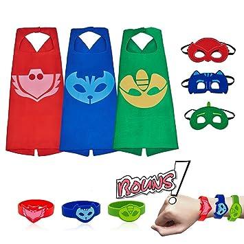 RioRand Disfraces Capas de Dibujos Animados con Máscaras de Superhéroe para niños Parte 3-Pack
