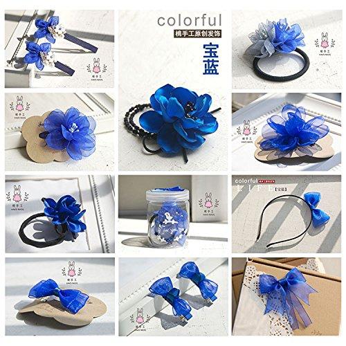 (Peach hair ornaments handmade original series custom sapphire blue snow yarn ribbon roses hair clips hair ring issuers for women girl lady)