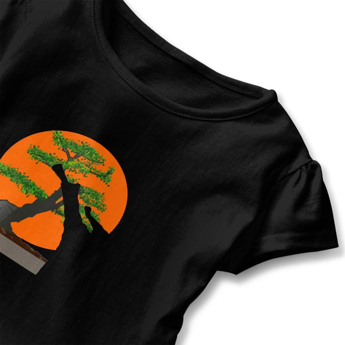 CZnuen Japanese Karate Bonsai Baby Girls Round Neck Short Sleeve Ruffle T-Shirt Top