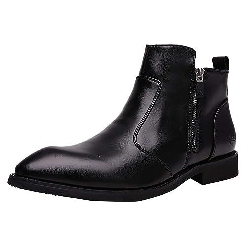 matériau sélectionné nouveau style de remise spéciale de Bottines Bootes Chelsea en Cuir pour Homme,Bottes Pointues Fermeture Eclair  Noir Taille 39.3-44.5 EU