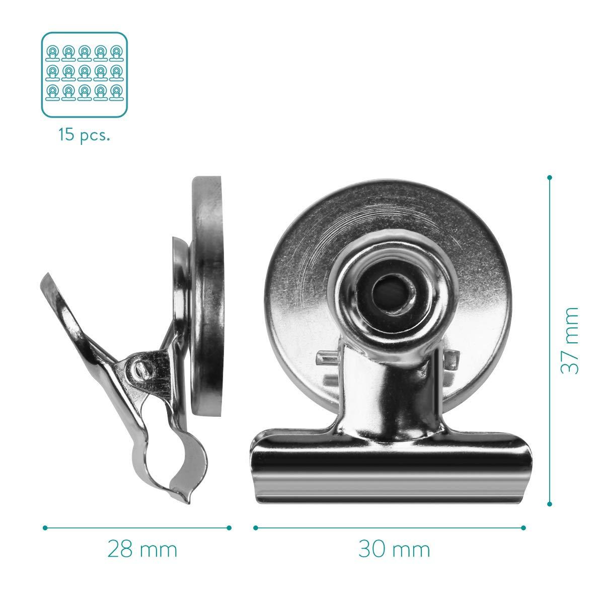 Navaris 15 magneti in Metallo con Clip Tenuta Forte Set di 15 Calamite magnetiche con Clip a Morsetto per Foto Vestiti Cucina Ufficio Oro Rosa