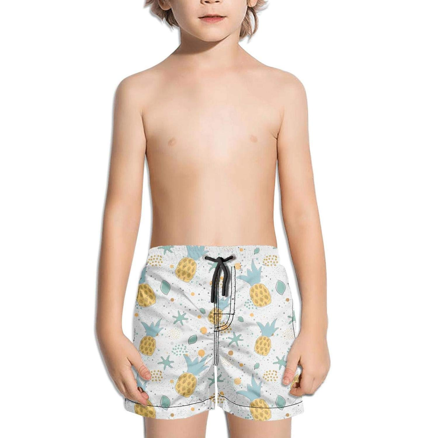 Boys Boardshorts colofuly Rainbow Cartoon Pineapple White Background Quick Dry Bathing Suits Beach Board Shorts