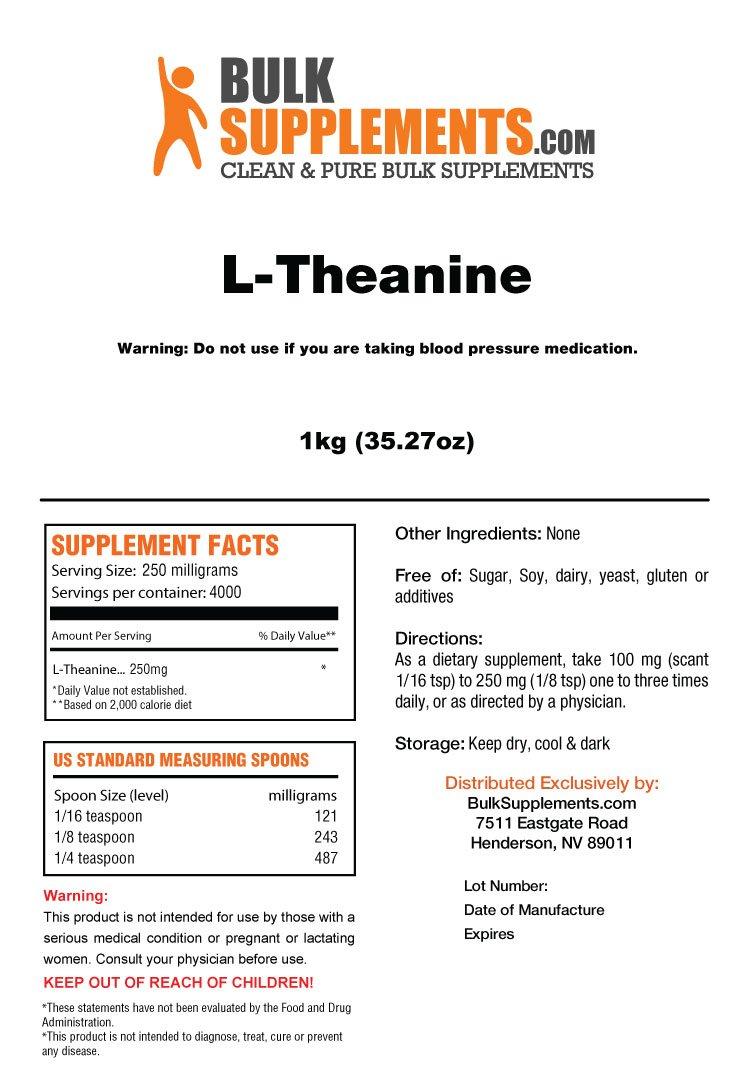 BulkSupplements Pure L-Theanine Powder (5 Kilograms) by BulkSupplements (Image #1)