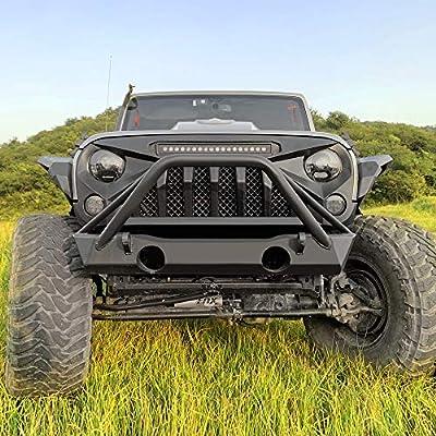 AMERICAN MODIFIED Matte Black Front Gladiator Vader Grill for 2007-2020 Jeep Wrangler JK/JKU Rubicon Sahara Sport (w/LED Off-Road Lights): Automotive
