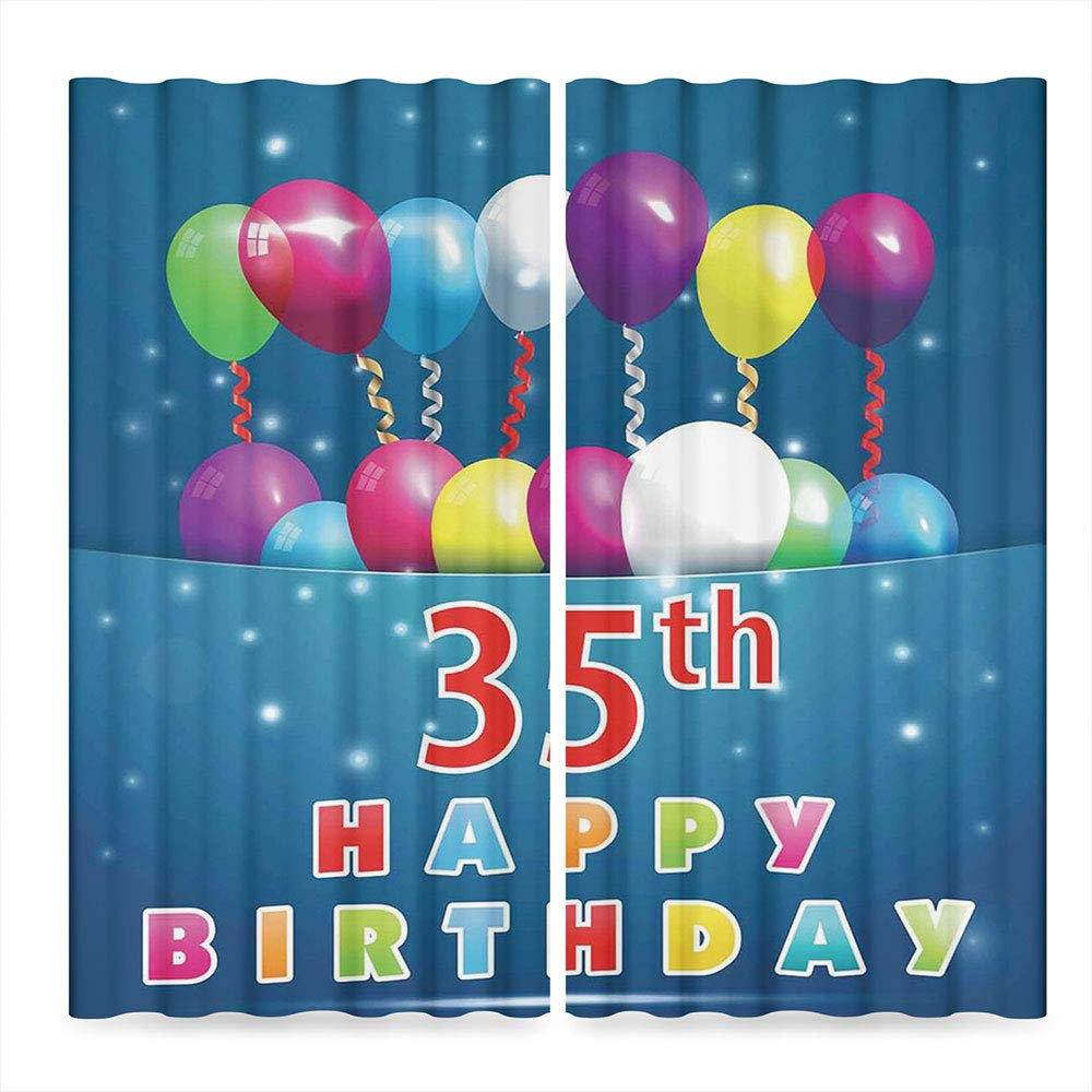 C COABALLA 35th Birthday Decorations Window Blackout Curtains,Surprise Party for Thirty Five Year Old Flying Balloons Ribbons,for Living Room, 2 Panel Set, 28W X 39L Inches