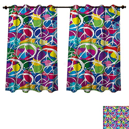 (RuppertTextile Retro Blackout Curtains Panels for Bedroom Universal Peace Sign Symbol on Colorful Pop Art Style Background Pacifist Activism Decor Curtains Multicolor W63 x L45 inch)