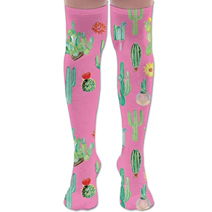 41c928a529 Cute Cacti Cactus Painting Print Polyester Cotton Over Knee Leg High Socks  Novelty Unisex Thigh Stockings
