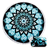 Ricdecor Beach Towel Indian Mandala Microfiber Large Round Beach Blanket with Tassels Ultra Soft Super Water Absorbent Multi-Purpose Towel 59 inch across (NO.19)