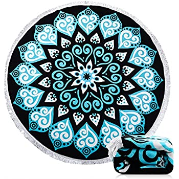 Beach Towel Ricdecor Indian Mandala Microfiber Large Round Beach Blanket with Tassels Ultra Soft Super Water Absorbent Multi-Purpose Towel 59 inch across (NO.19)