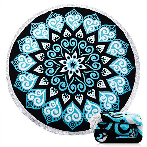 Ricdecor Beach Towel Indian Mandala Microfiber Large Round B