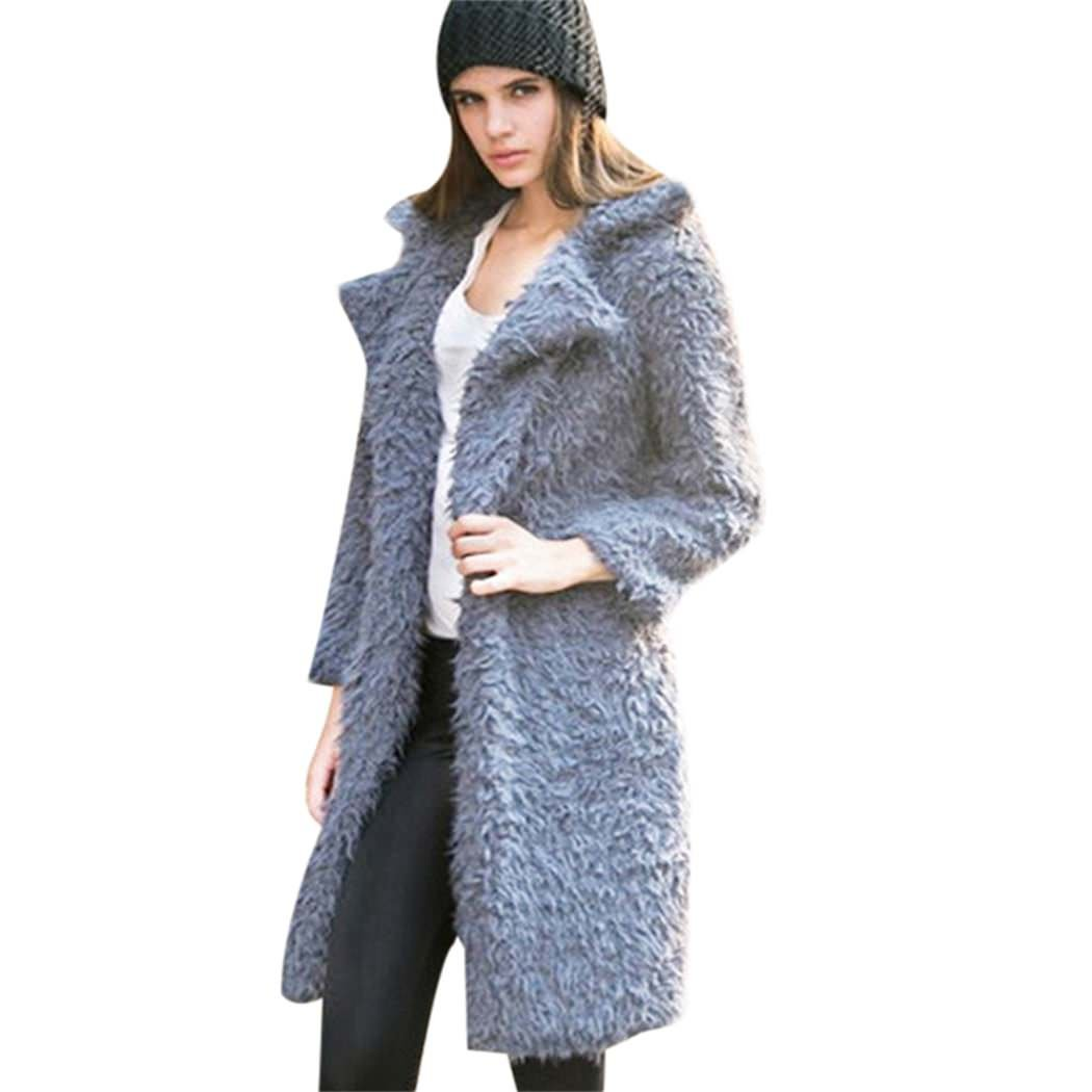 MIOIM Womens Winter Jacket Faux Fur Cardigan Outwear Long Trench Coat Lapel Overcoat S2364625