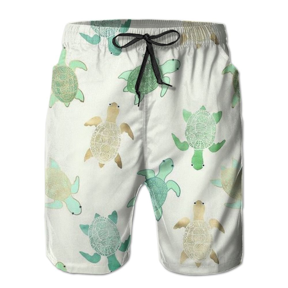 JDHFAF Green Turtle Mens Beach Board Shorts Quick Dry Summer Casual Swimming Soft Fabric with Pocket
